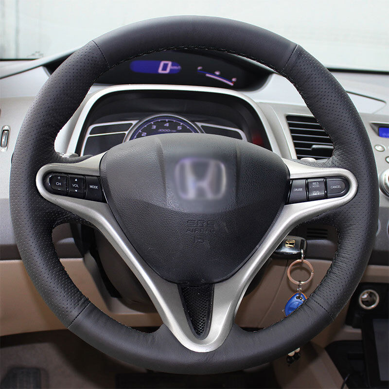 Details About Steering Wheel Cover Real Leather Wrap W Needle For 06 11 Honda Civic 8 3 Spoke