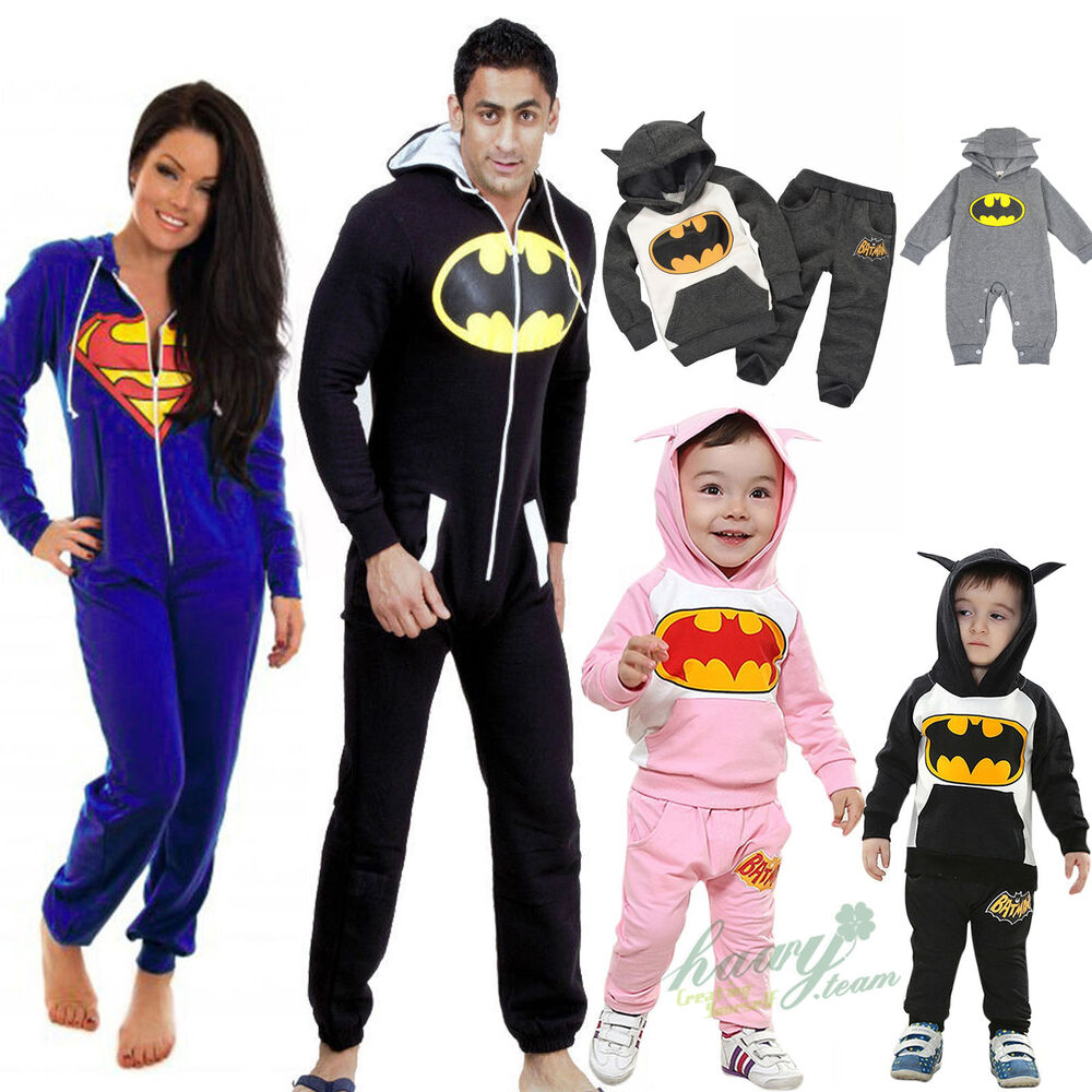 herren damen kinder batman jumpsuit schlafanzug. Black Bedroom Furniture Sets. Home Design Ideas