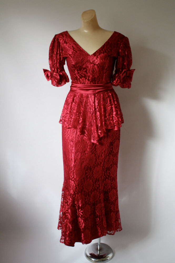 Vintage Prom Dress Burgundy Red Lace Amp Bows Cocktail Dress