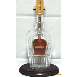 CROWN ROYAL Special Reserve Whiskey Liquor Bottle TABLE LAMP Light w/Wood Base