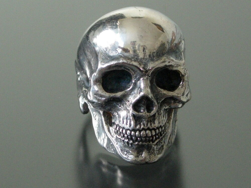 large sterling silver skull ring masonic 925