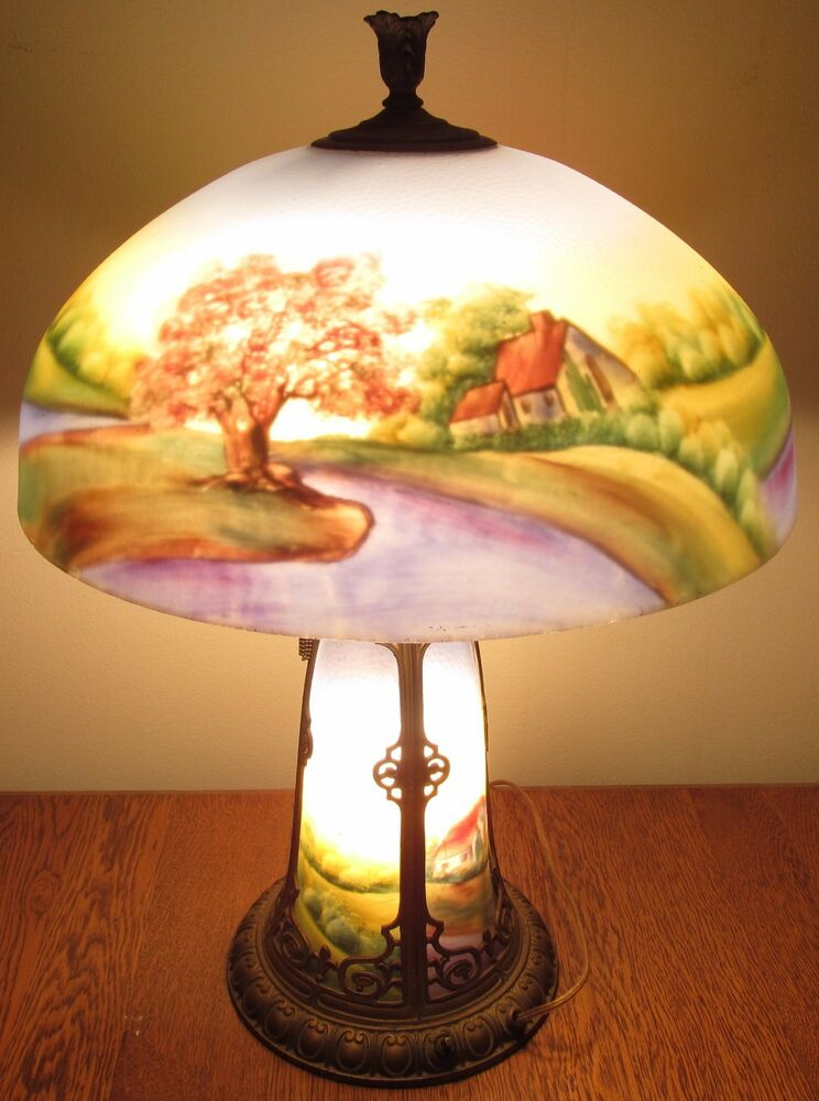 Antique Arts Amp Crafts Chicago Reverse Glass Painted Lamp
