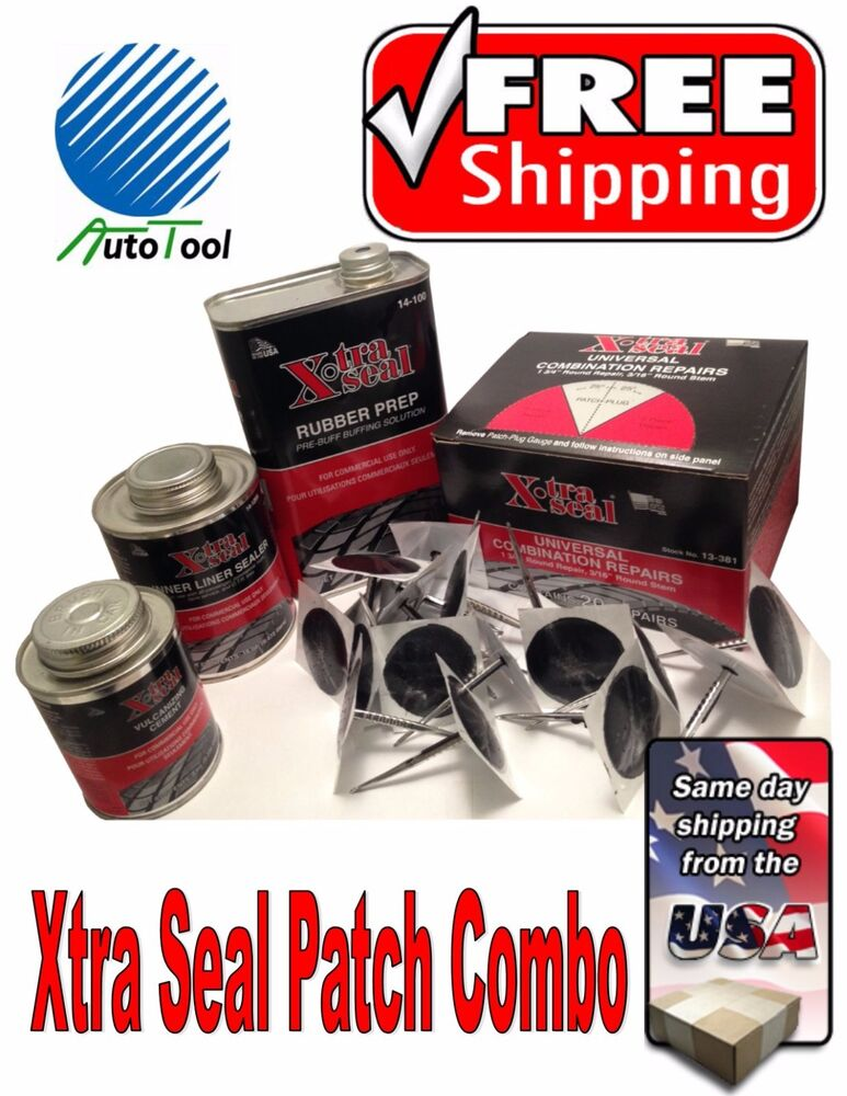 Xtra Seal Tire Repair Complete Combi Kit (patch-plug,glue,sealant,pre-buff) | eBay