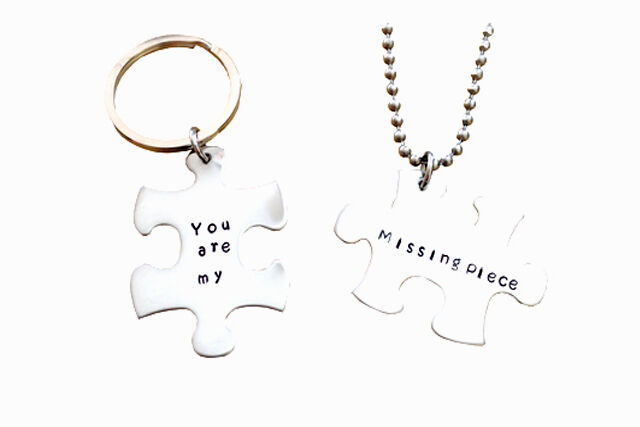1c436afe82 You are my missing piece - Couples Key chain and Necklace Set - Puzzle  piece Set | eBay