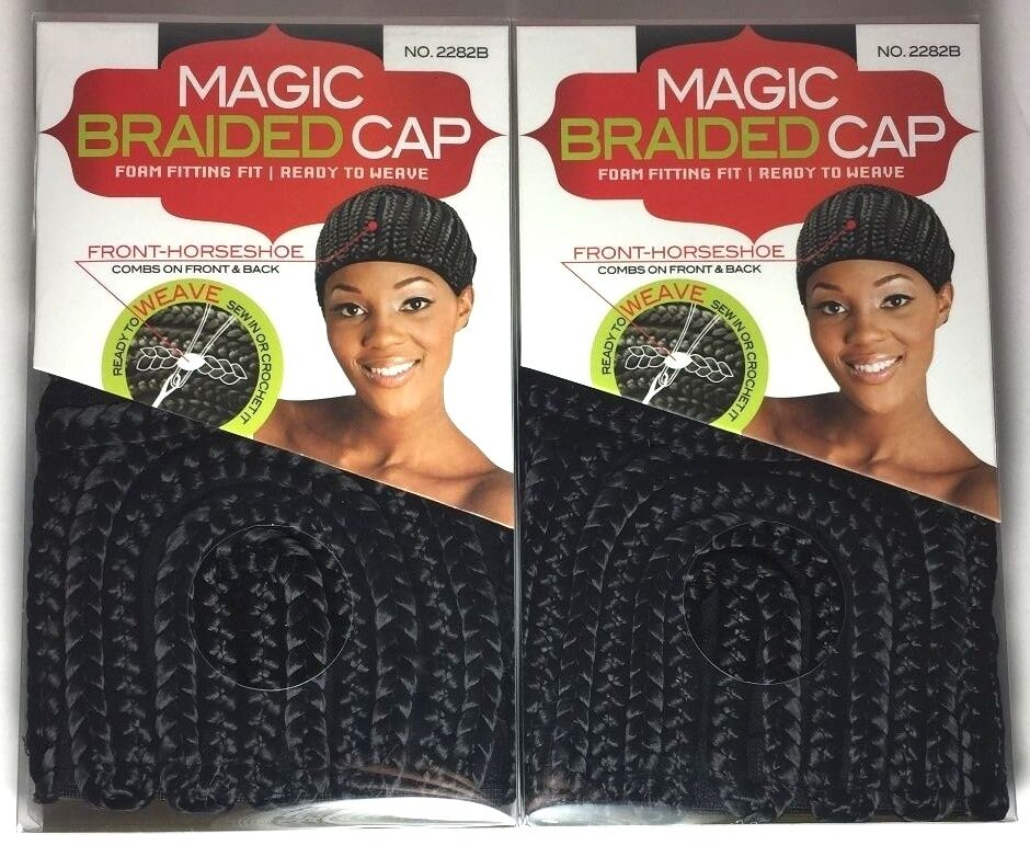 Brand New Lot Of 2 Magic Black Braided Cap 2282b Ready To Weave Sew