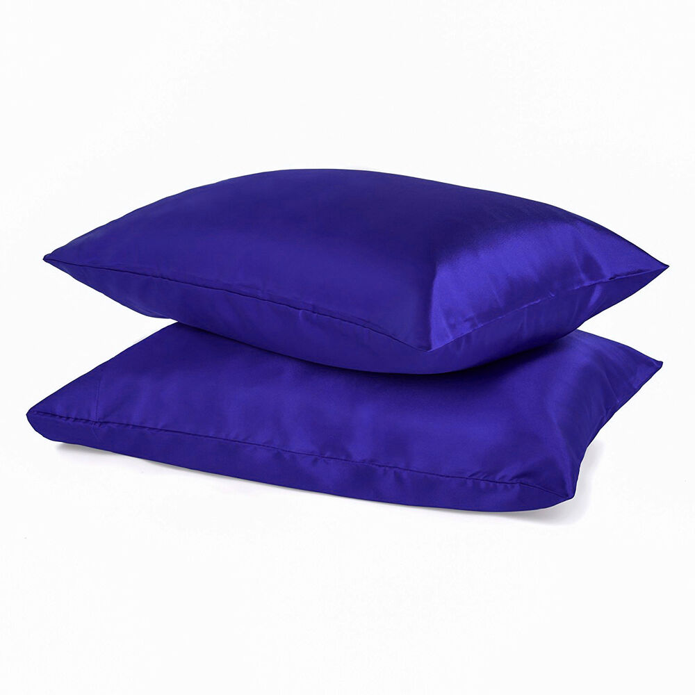 2pc New Standard Silk Y Satin Pillow Case Multiple Colors
