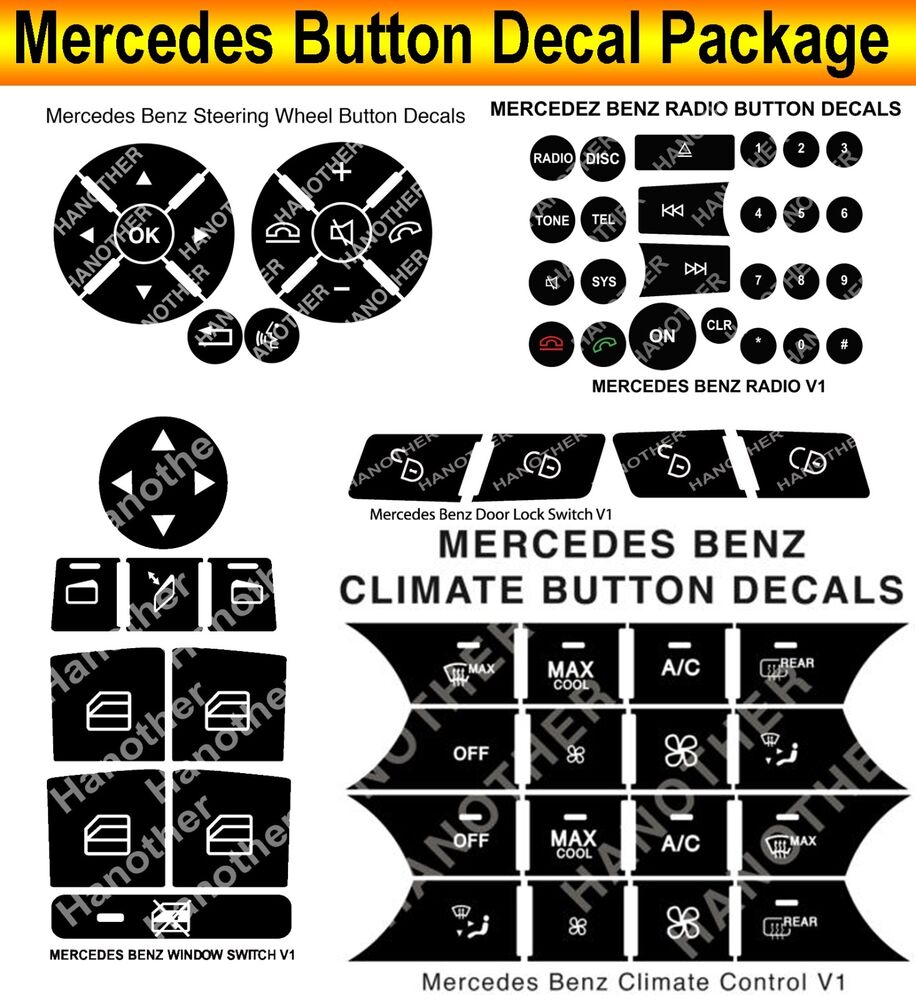 07 14 mercedes benz peeling button package steering ac window decals stickers ebay. Black Bedroom Furniture Sets. Home Design Ideas