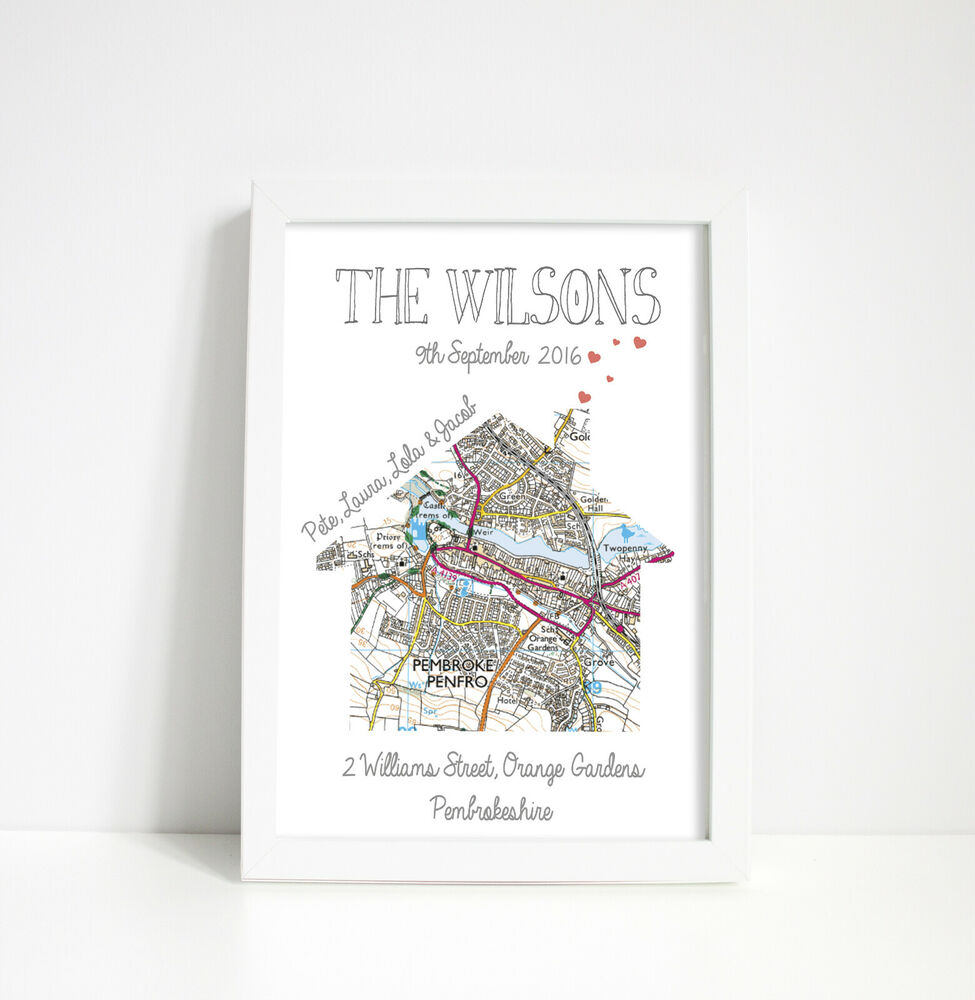 Personalised Map Print New Home First House Gift House