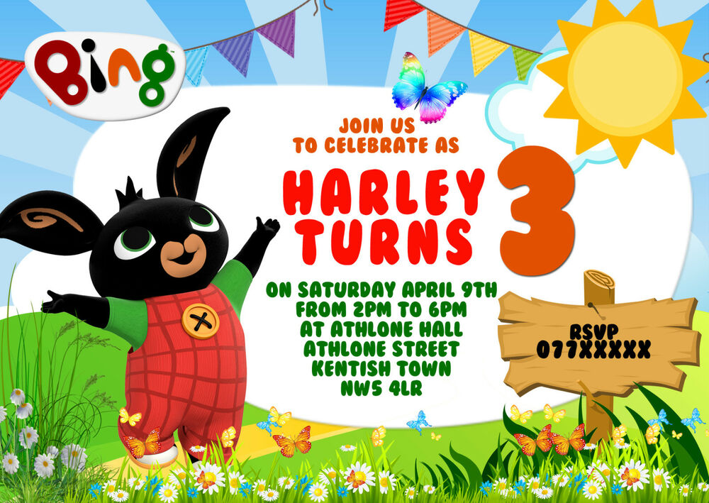 Personalised Bing Bunny Kids Birthday Party Invitations