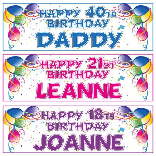 2 PERSONALISED BALLOON BIRTHDAY BANNERS