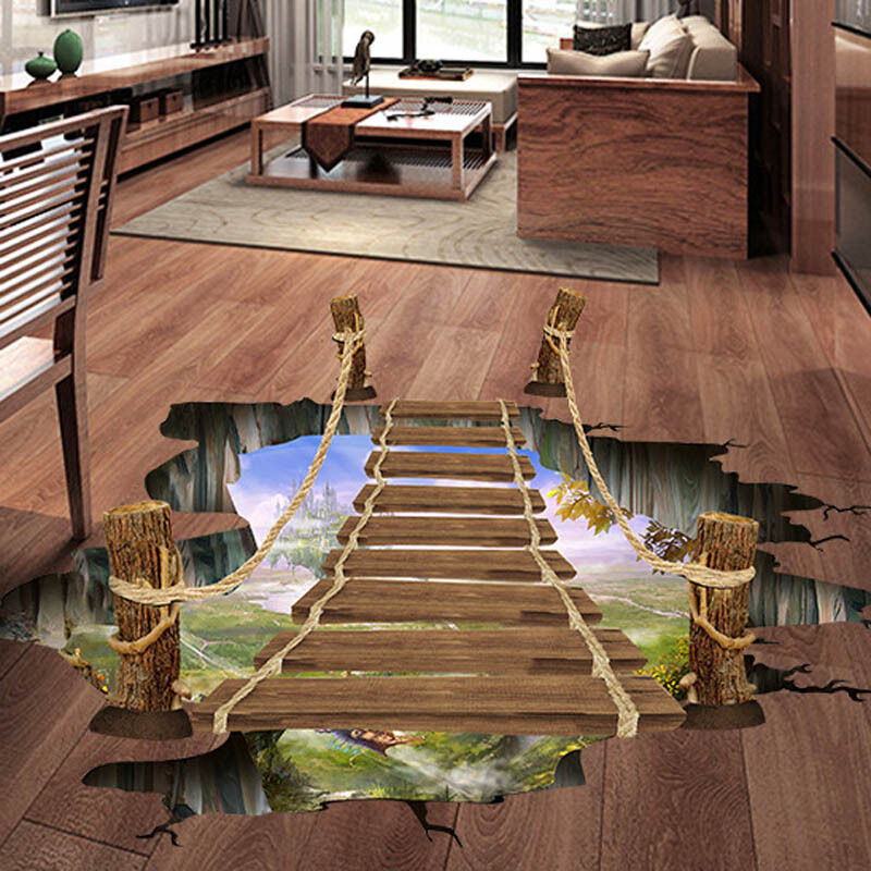 3d floor wall sticker removable bridge mural decals vinyl art living room dec - Decoration mural design ...