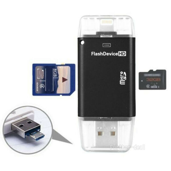 USB Flash SD TF Card Reader Adapter For iPhone X 8 7 6 s & Plus iPad OTG Samsung
