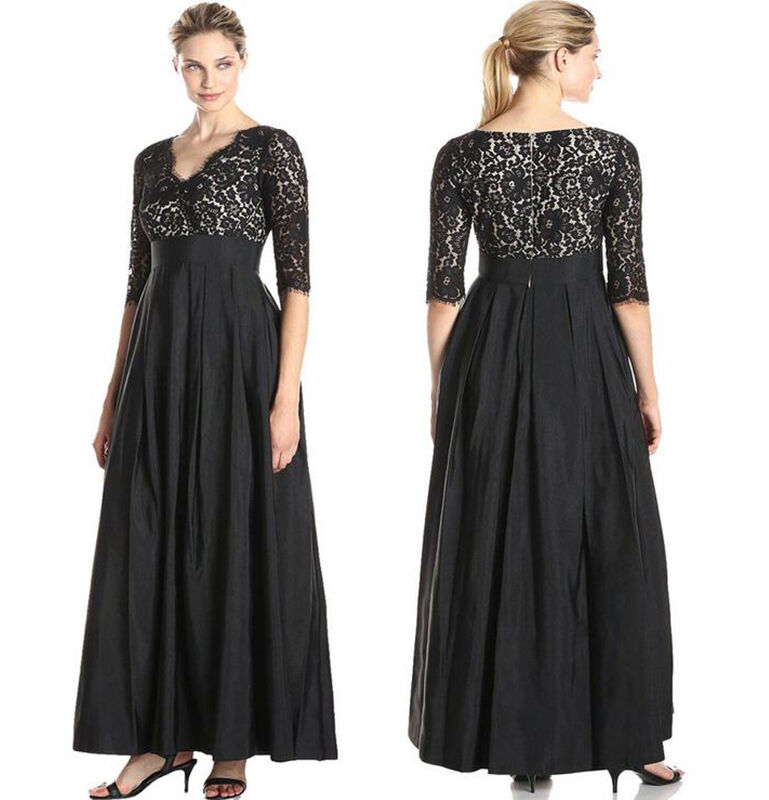 01 Long Maxi V lace Satin Joint 3/4 Sleeve Formal Evening ...