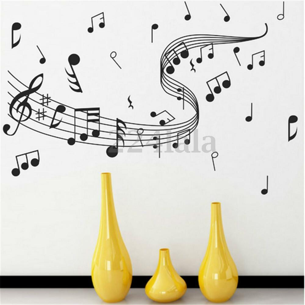 Music notes band room home removable wall stickers decals for Music room decor diy