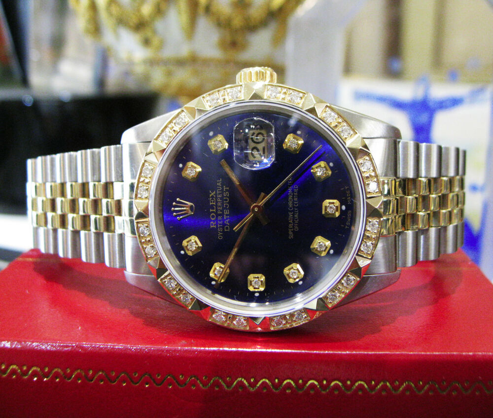 Mens rolex oyster perpetual datejust diamonds yellow gold stainless steel watch ebay for Watches diamond