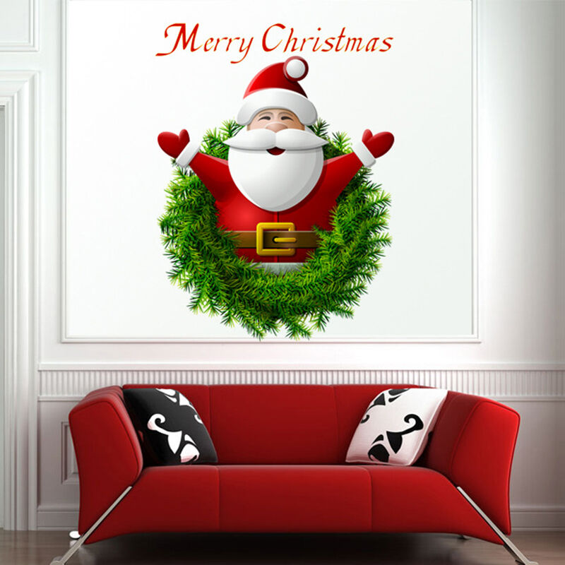 Cartoon santa claus wall stickers vinyl art christmas home for Christmas wall mural plastic