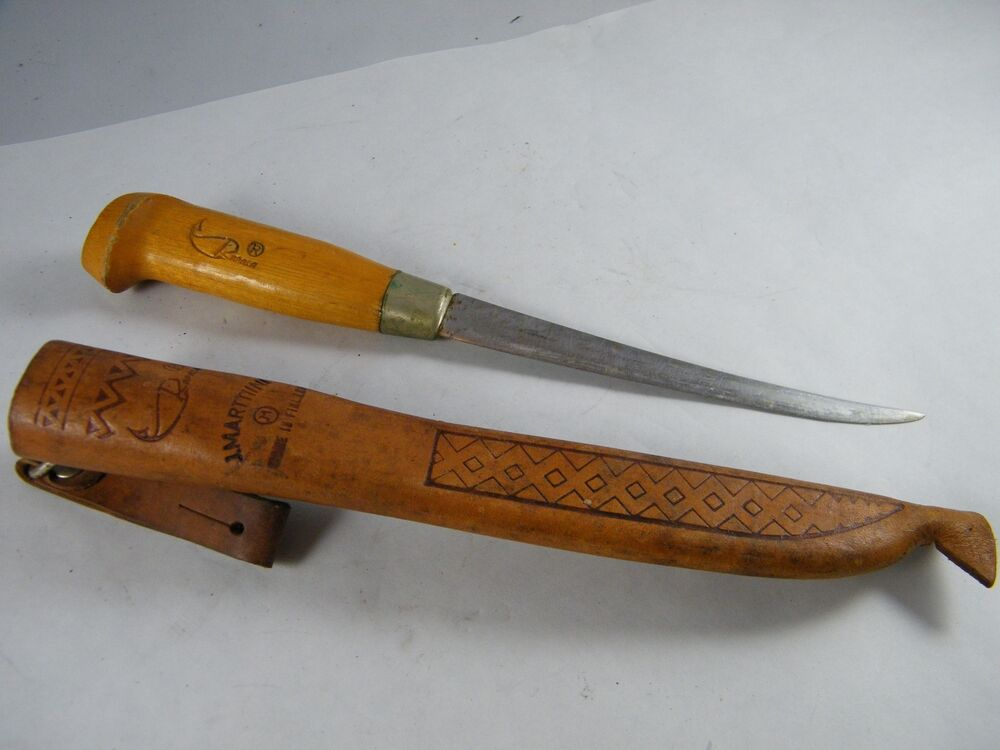 Vintage rapala j marttiini fish fillet knife with sheath for Fish fillet knives
