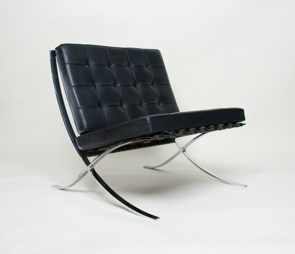 original knoll mies van der rohe barcelona chair black leather mid century ebay. Black Bedroom Furniture Sets. Home Design Ideas