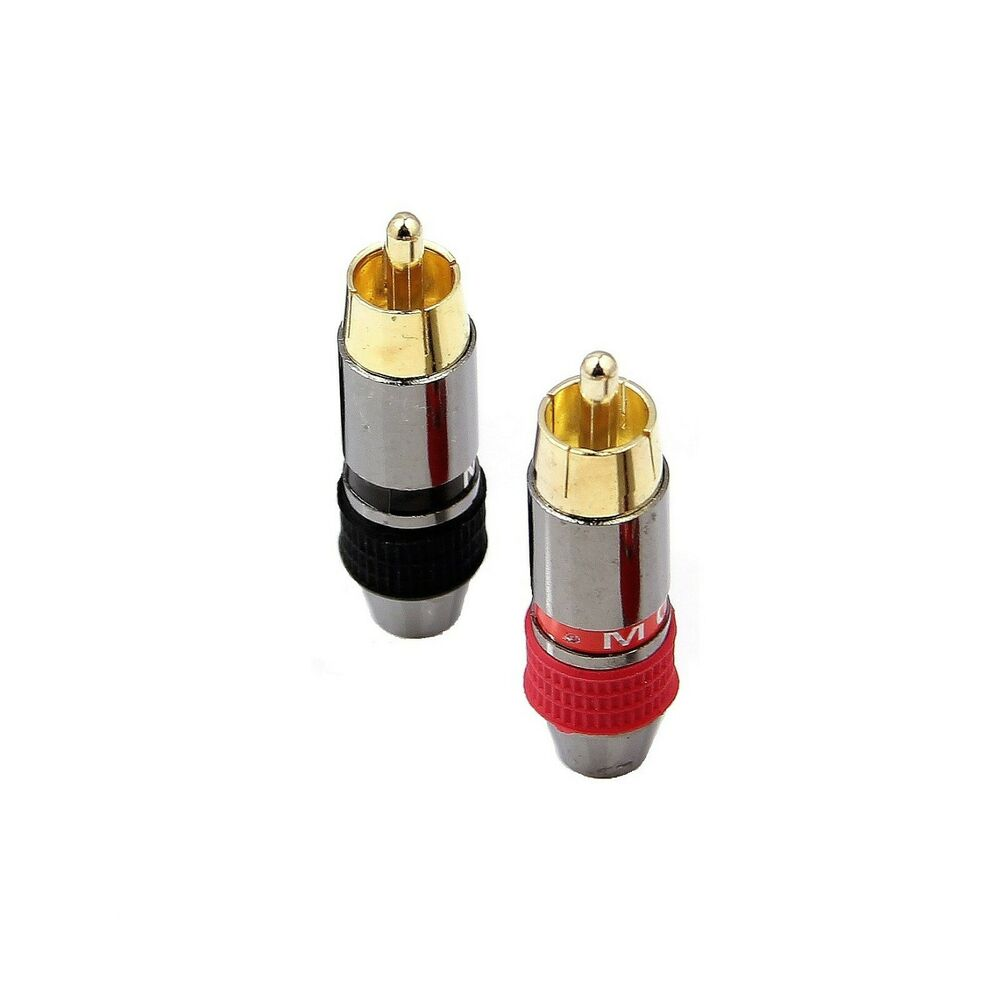 Awesome 2X Metel Rca Phono Male Plug Non Solder Solderless Connector Adapter Wiring Digital Resources Funapmognl