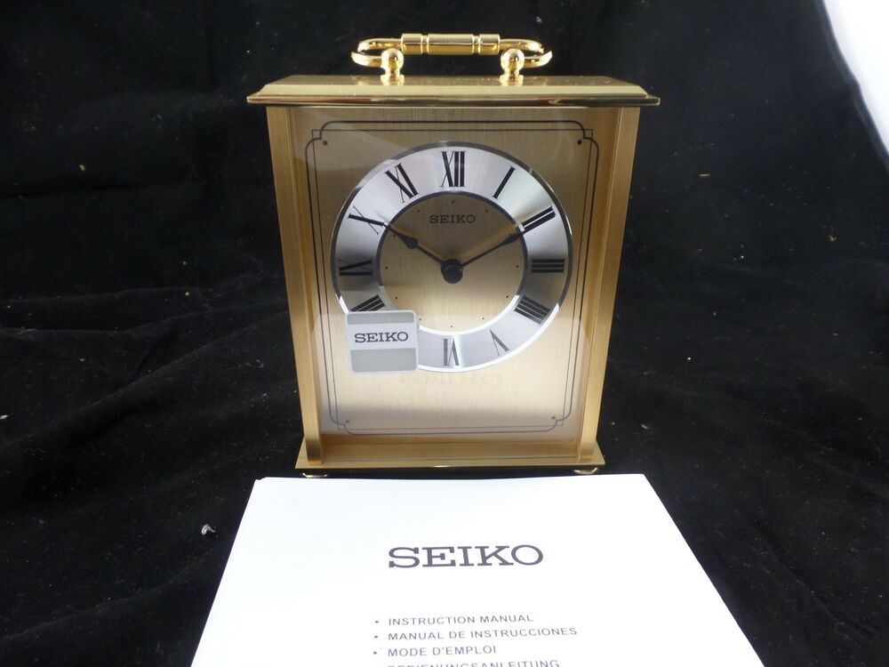 Seiko Desk And Table Carriage Clock Gold Tone Solid Brass New In Box