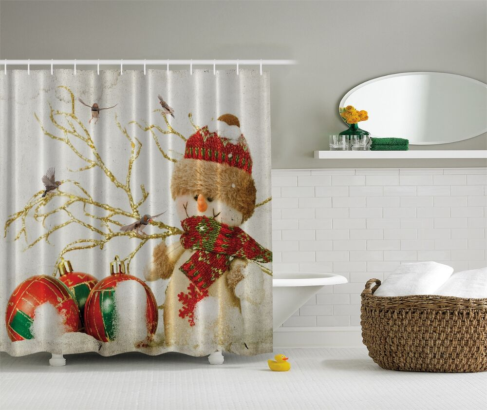 Winter Holiday Snowman Christmas Fabric Shower Curtain