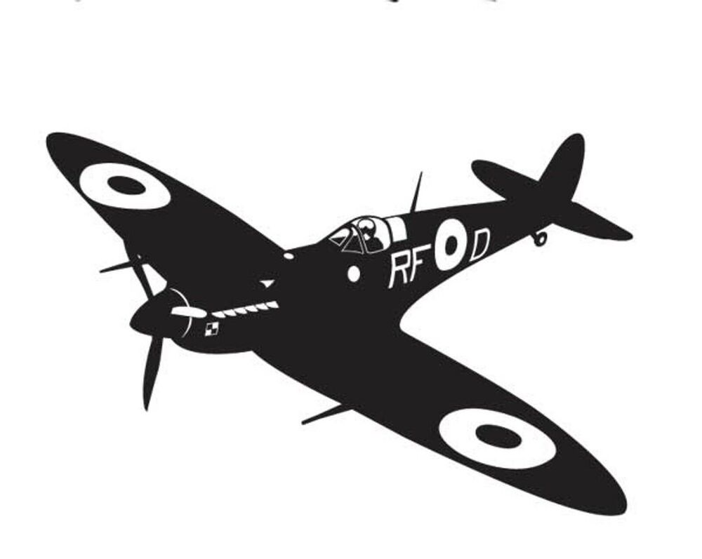 Ww2 Era Spitfire Fighter Vinyl Wall Sticker Military