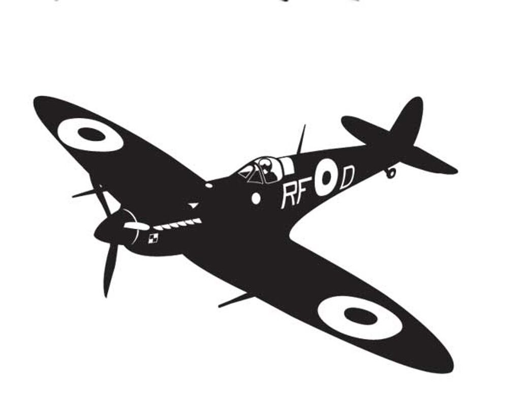 Ww2 Era Spitfire Fighter Vinyl Wall Sticker Military Aviation Vintage