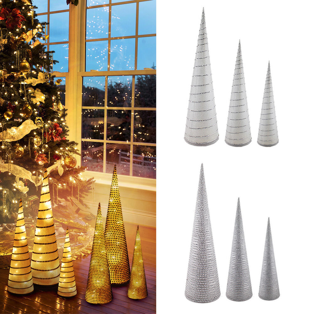 Large holiday led christmas tree lights glitter cones home for Ebay decorations home