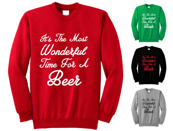 ae1a65d1e Details about IT'S THE MOST WONDERFUL TIME FOR A BEER MEN'S CHRISTMAS  JUMPER ADULTS SWEATSHIRT