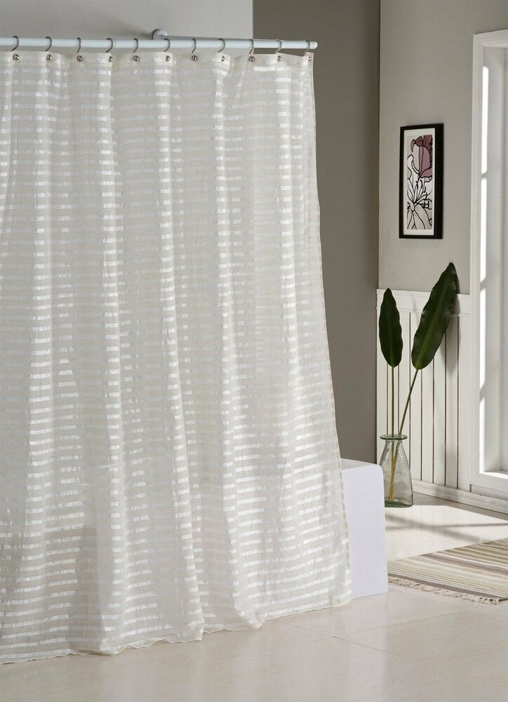 Fabric Shower Curtain Natural Linen Blend White And Ivory Stripes Ebay