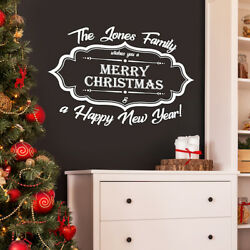 Merry Christmas Family Name Personalised Wall Window Vinyl Decal Sticker Graphic