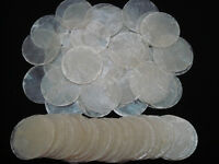 "100 PCS ROUND CAPIZ SEA SHELL BLANK NO HOLE CRAFT 1 1/2"" #7517"