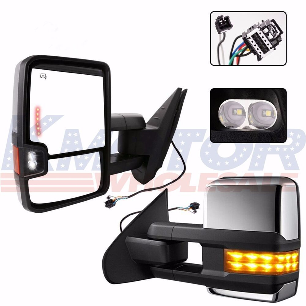Chrome Towing Mirrors Side Power Heated Led Signal Pair