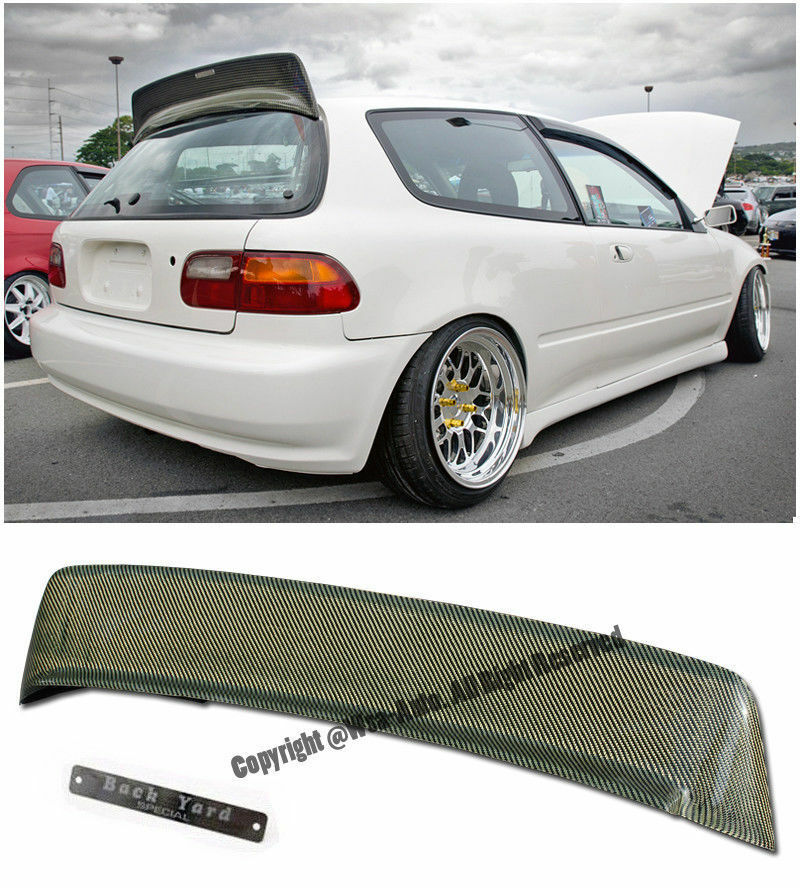 bys style kevlar carbon rear roof spoiler wing civic hatchback 92 95 eg6 ebay. Black Bedroom Furniture Sets. Home Design Ideas