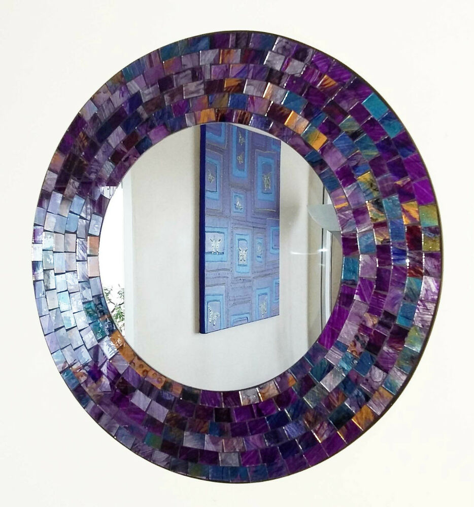 Round purple pink mosaic wall mirror 40cm hand made in for Mosaic mirror