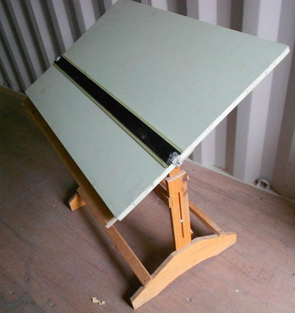Antique Architect Drafting Drawing Table Solid Wood W