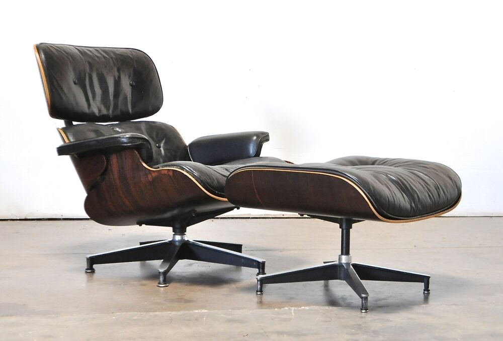 eames herman miller vtg mid century modern leather rosewood lounge chair ottoman ebay. Black Bedroom Furniture Sets. Home Design Ideas