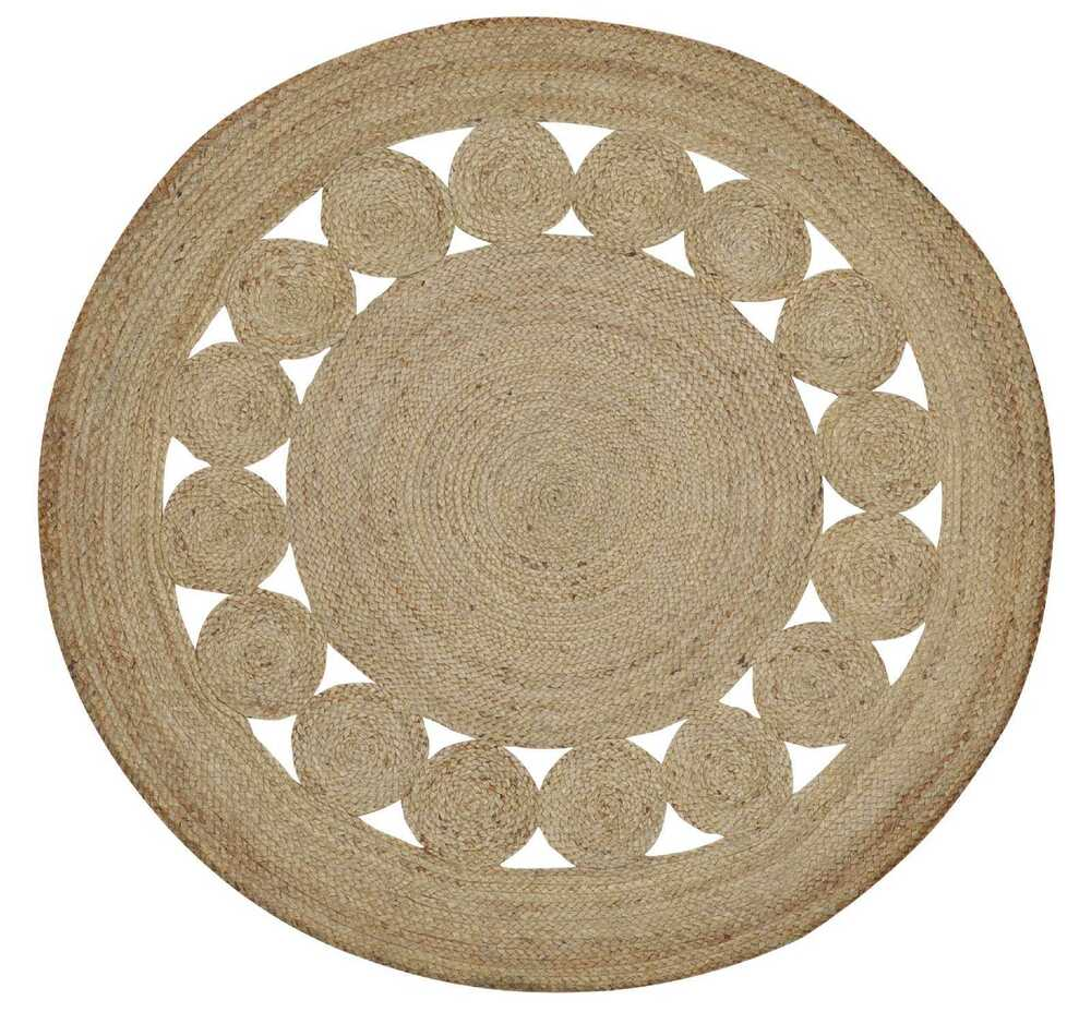 Round Jute Floor Rug Natural Flower Braided Flatweave Rug