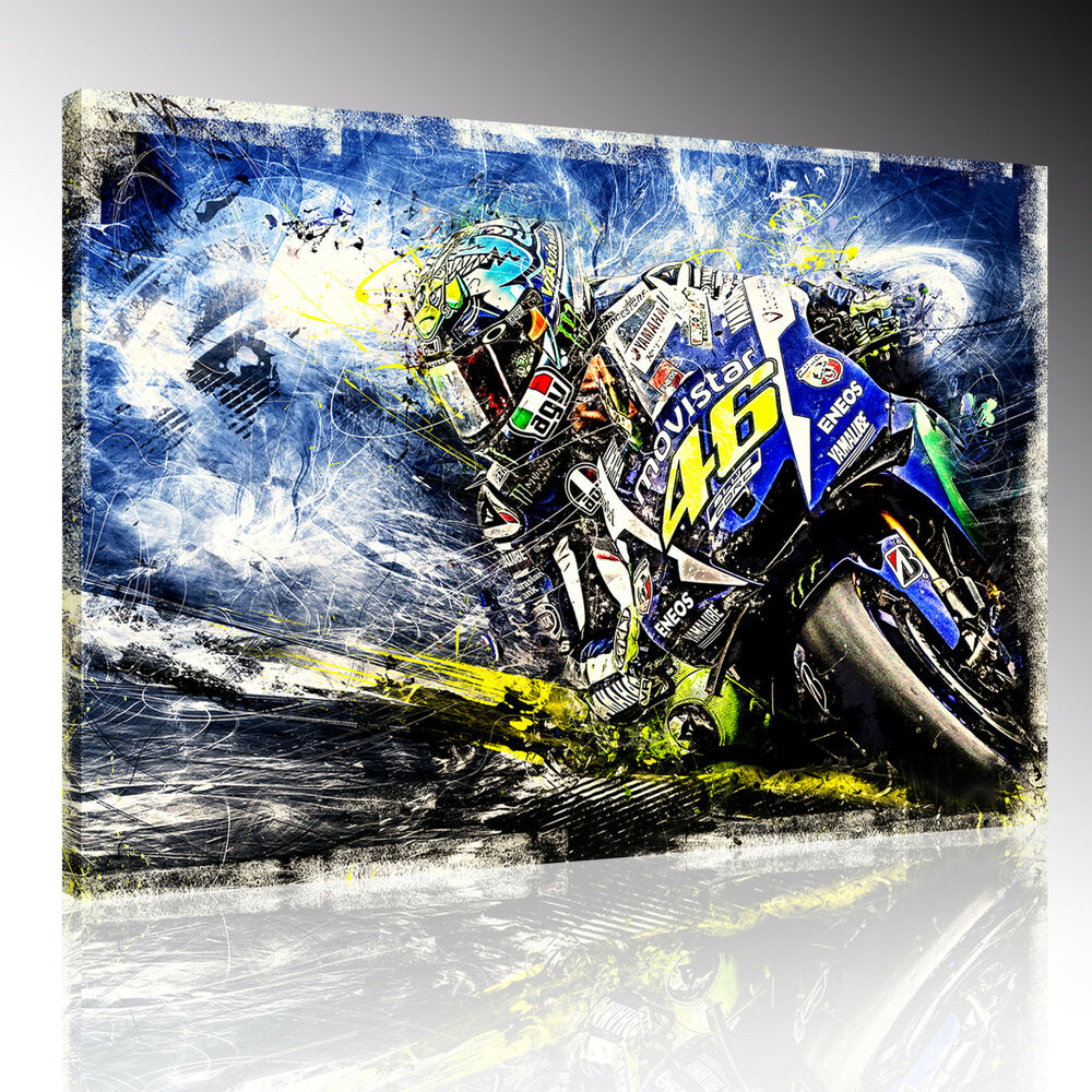 valentino rossi leinwand bild poster wandbild moto gp deko. Black Bedroom Furniture Sets. Home Design Ideas