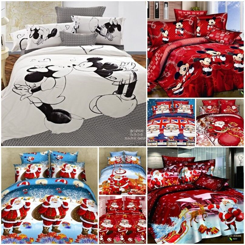 uk christmas mickey mouse king double size cotton quilt duvet cover bed set a ebay. Black Bedroom Furniture Sets. Home Design Ideas