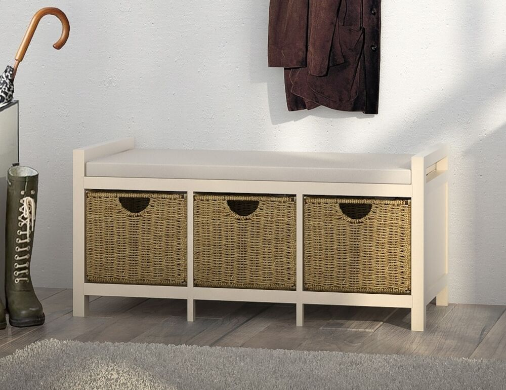 Hallway Bench 3 Wicker Drawers Shoe Storage Cream Hallway Sitting Storing Bench Ebay