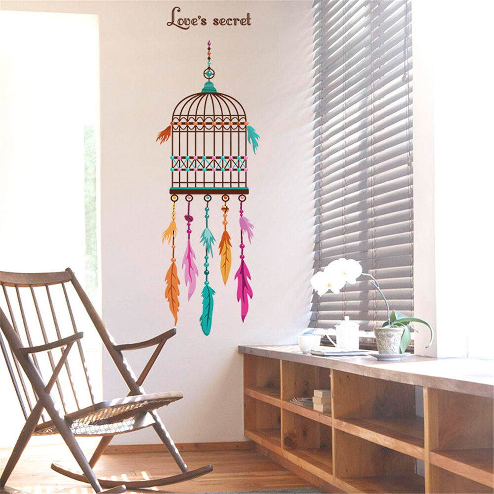 Bird Cage Feathers Room Home Decor Removable Wall Stickers Decals Decoration Ebay