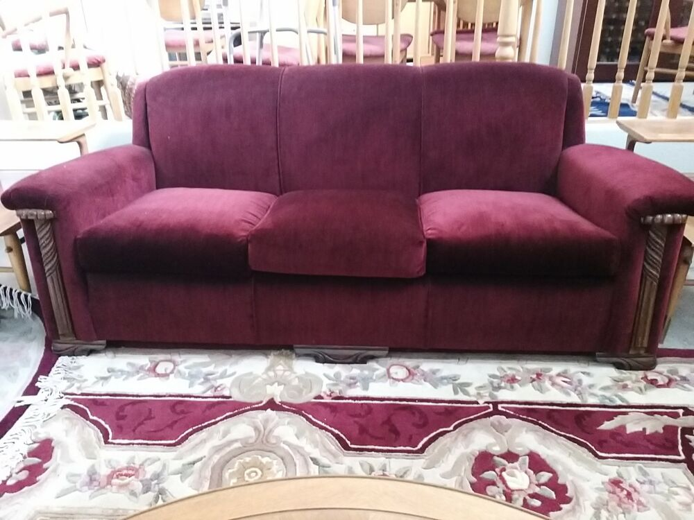 Vintage 1930 S Art Deco Red Mohair Sofa And 2 Chairs Ebay