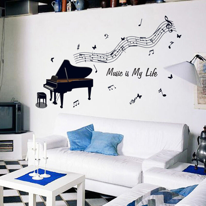 Diy piano music art removable vinyl wall sticker decal for Music room decor diy