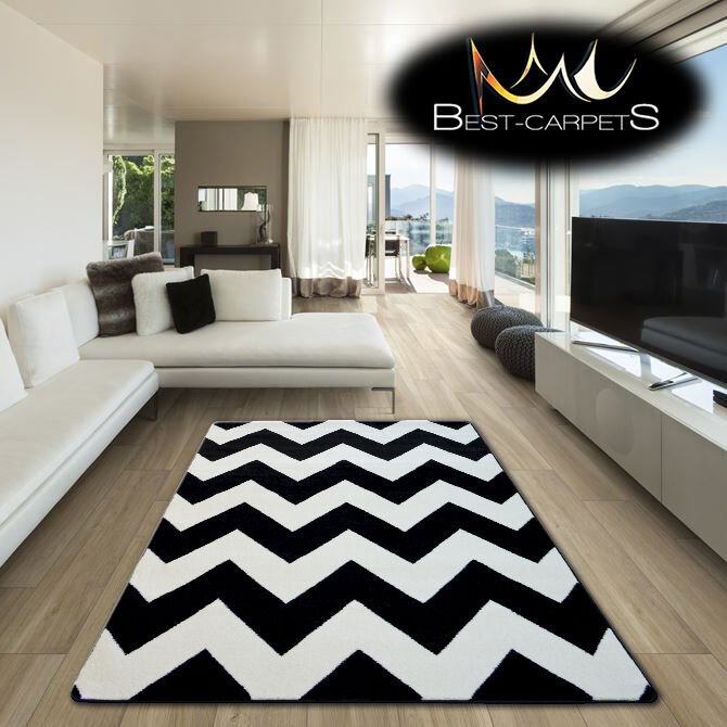 Black And White Rug Ebay Uk: AMAZING THICK MODERN RUGS SKETCH ZIG ZAG WHITE BLACK F66