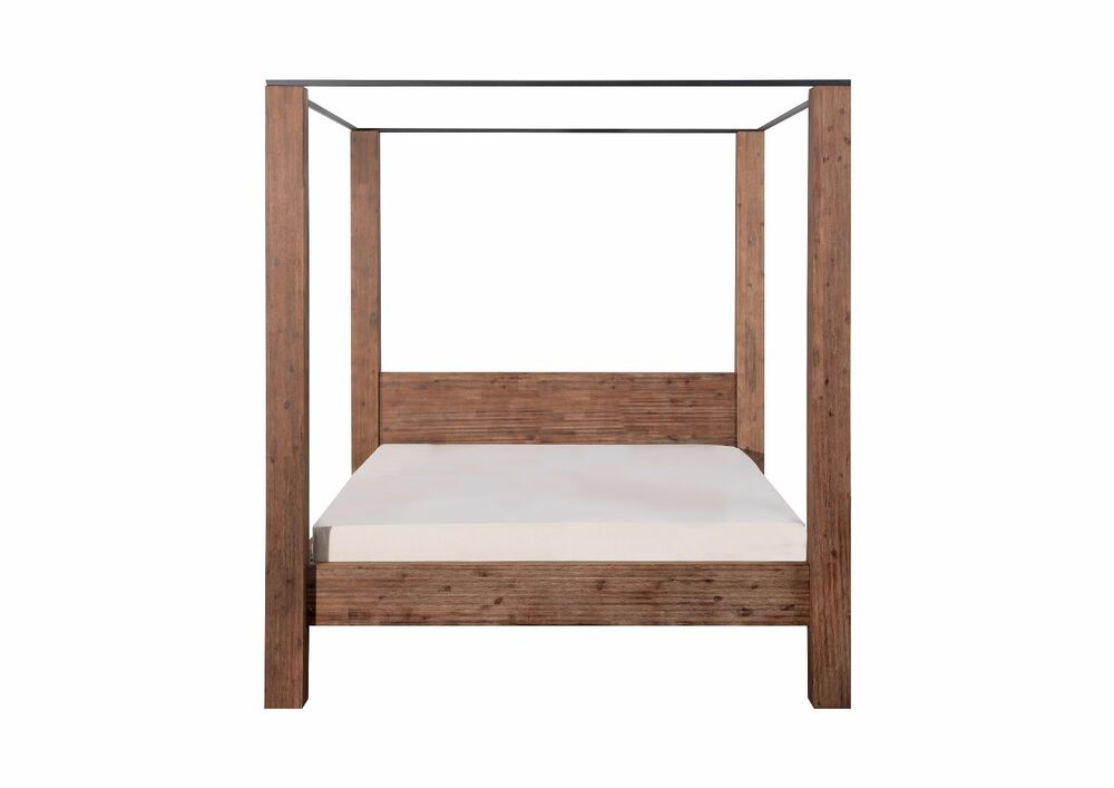 himmelbett holzbett massivholz bett doppelbett 140x200 akazie nachttisch massiv ebay. Black Bedroom Furniture Sets. Home Design Ideas