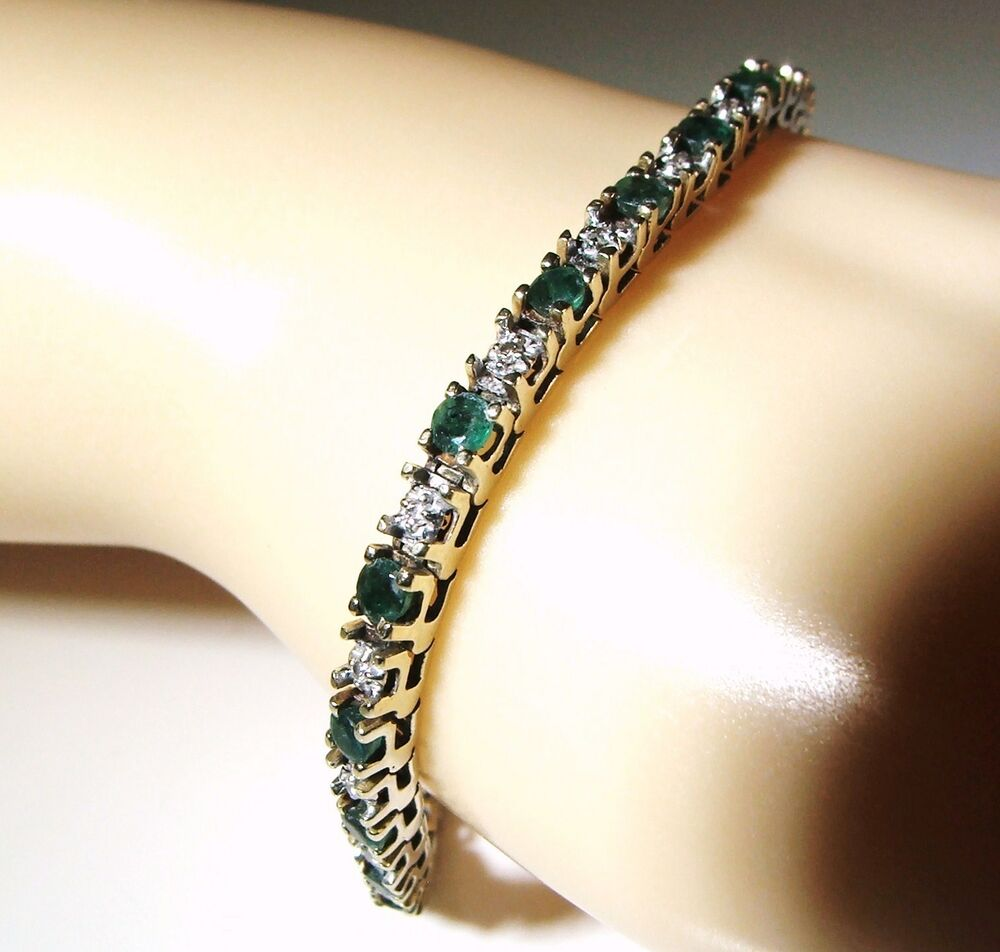 Sale 14k Emerald And Diamond Tennis Bracelet 2 8 Carat