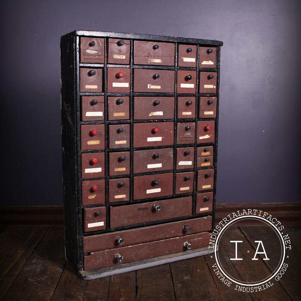 small parts cabinet vintage industrial depression era 36 drawer handmade 26395