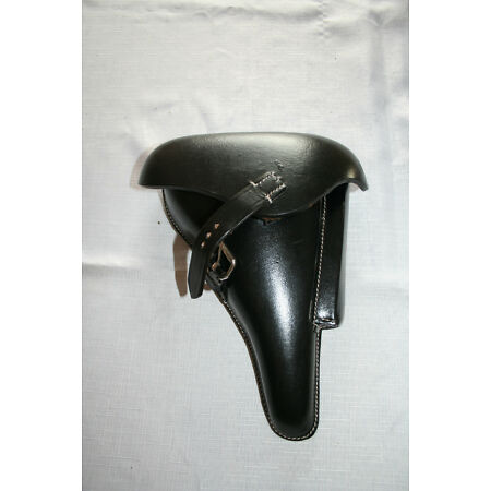 img-German ww2P08 LUGER HOLSTER Hard Shell Black Leather Repro
