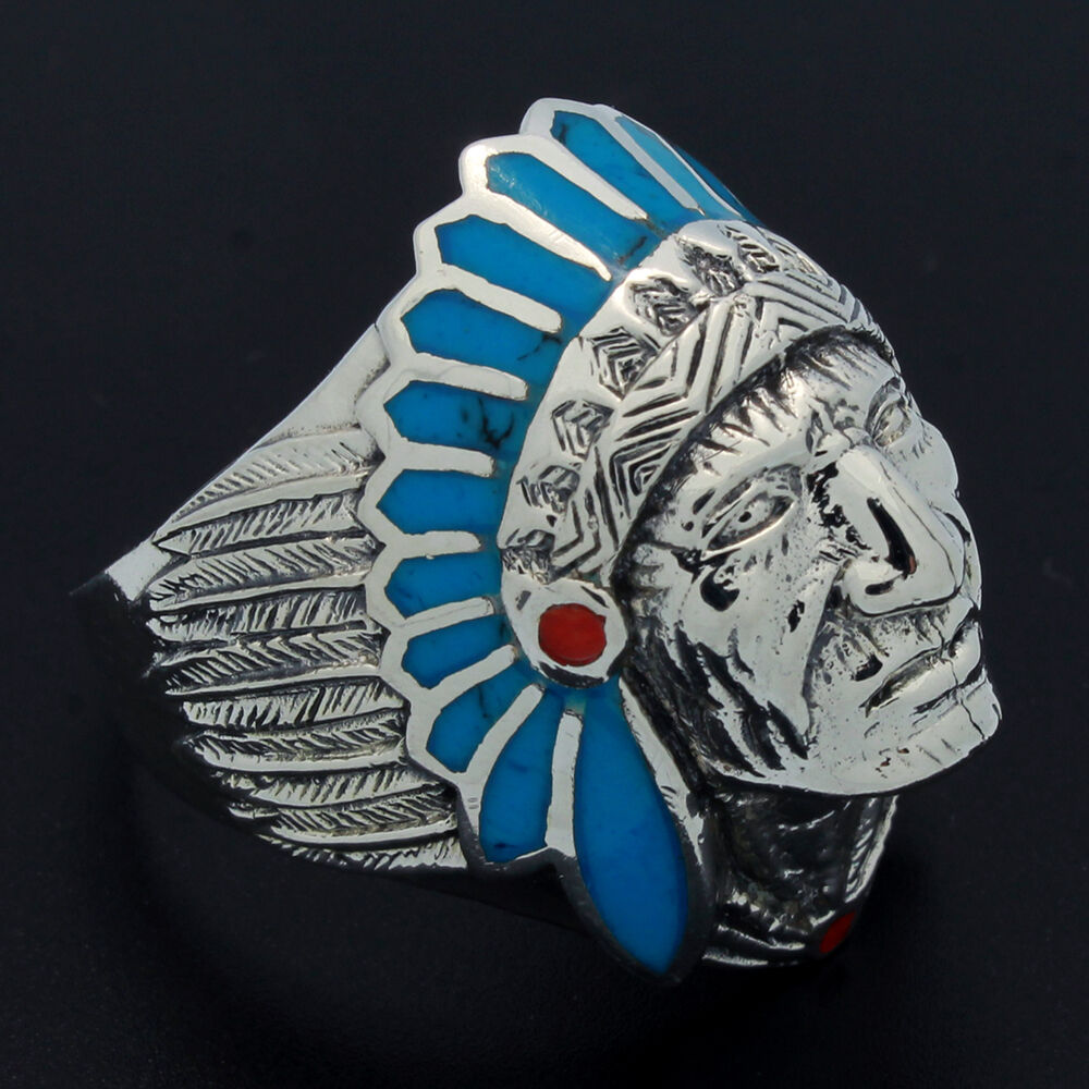 Solid Sterling Silver Blue Turquoise Red Coral Dot Indian